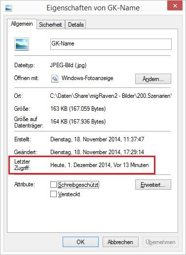 Datei-Eigenschaft Letzter Zugriff