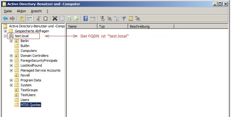 FQDN in der Benutzer- und Computer-Verwaltung