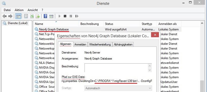 Neo4j-Dienst und DB-Pfad